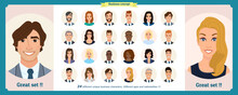 Business Avatars Set.Young Smiling Business People In Round Icons.Vector Illustration Of Flat Design People Characters.Cute, Simple Cartoon Style.Man, Woman In Business Clothes.Positive Business Team