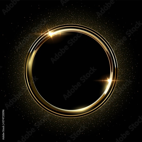 Fototapeta Golden round metal circle rings with sparkles background