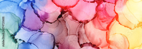 Canvastavla Abstract bubble blot watercolor rainbow color paintting background