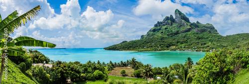 Fotografia Bora Bora Island French Polynesia Paradise Palm Trees Mountains Ocean