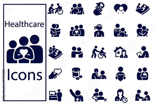 Slika na platnu Hospice and Palliative Healthcare Icons