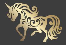 Unicorn Silhouette. Magic Animal. Hand Drawn Vector Illustration. Mythical Horse Silhouette.