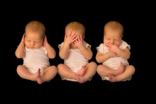 One Baby Photographed Three Times Doing Hear See Speak No Evil