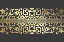 Laser Cut Panel Design. Ornate Vintage Vector Border Template For Laser Cutting, Stained Glass, Glass Etching, Sandblasting, Wood Carving, Engraving, Cardmaking, Wedding Invitations.