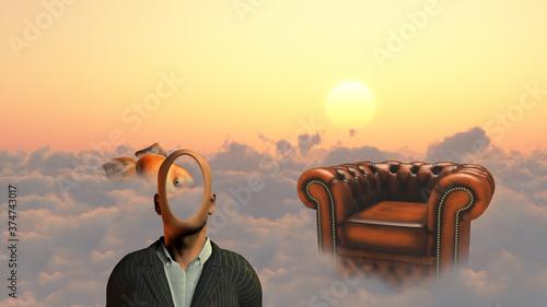 Fotografie, Obraz Faceless man above clouds. Golden fish and armchair. 3D rendering