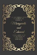 Wedding Invitation Card Template With Gold Foil Pattern. Laser Cut Frame Border Design