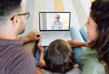 Fototapeta Łazienka - doctor technology online computer patient communication medicine medical internet family child health video