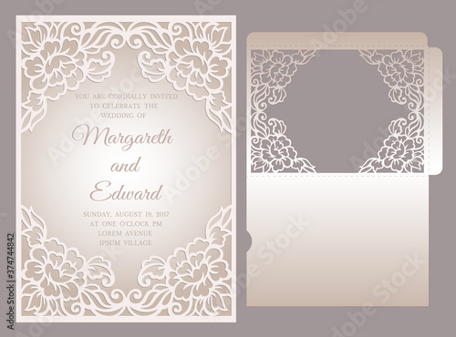 Floral laser cut frame pocket envelope for wedding invitations Fototapete
