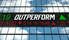 Outperform Exceed Expectations Stock Market Ticker Share Prices 3d Illustration