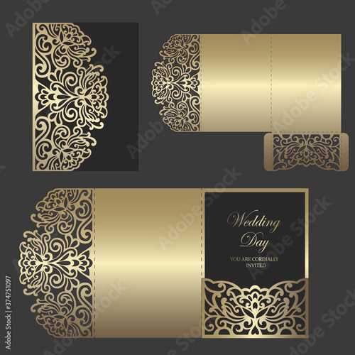 Stampa su Tela Laser cut tri fold pocket envelope for wedding invitations