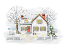 Winter Christmas Landscape With Country House, Snow And Trees Isolated On White Background. Watercolor Hand Drawn Illustration