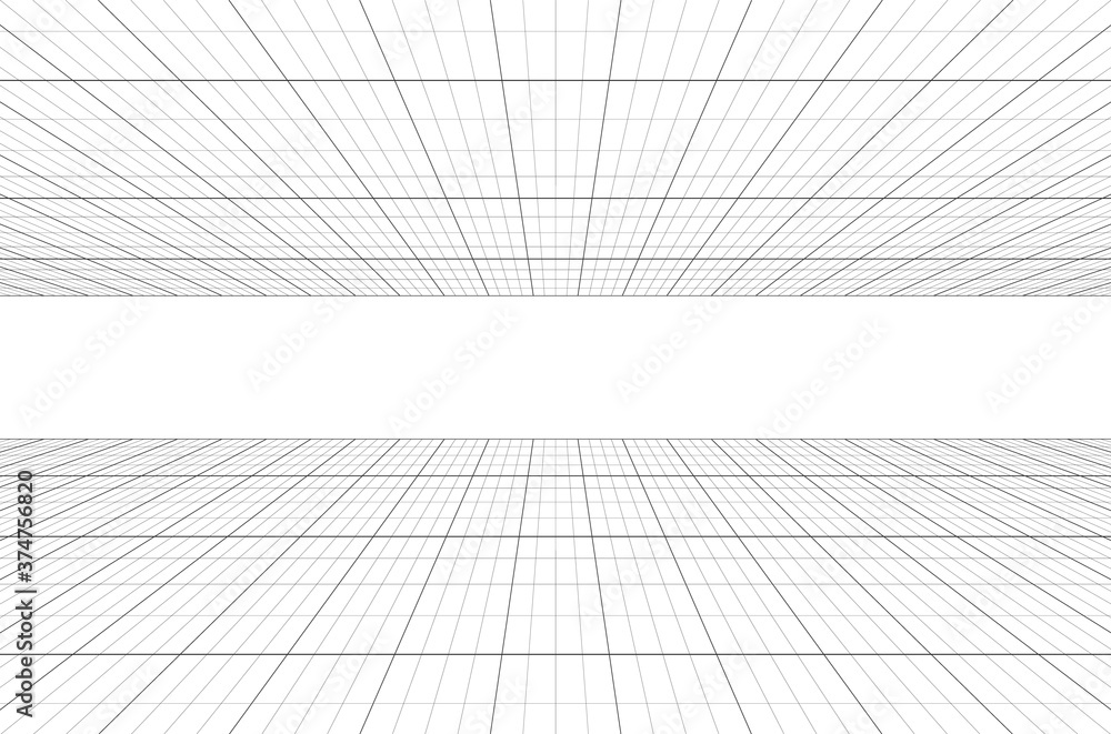 Fototapeta Perspective grid background 3d Vector illustration. architecture model projection background template. Line two point perspective horizon perspective sheme