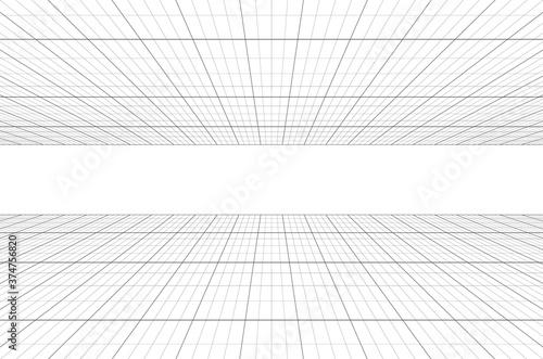Fotografia Perspective grid background 3d Vector illustration