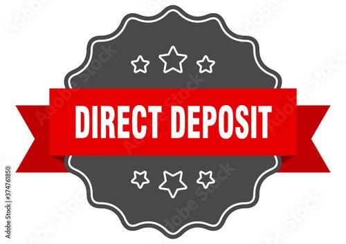 Tela direct deposit label. direct deposit isolated seal. sticker. sign