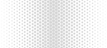 Halftone Hexagon Abstract Background. Black And White Vector Pattern.