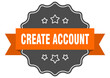 create account label. create account isolated seal. sticker. sign