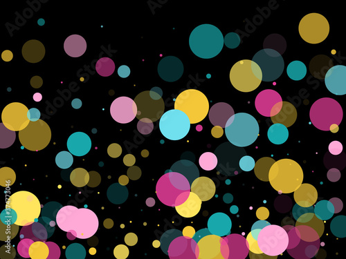 Memphis round confetti festive background in cyan blue, pink and yellow Fototapet