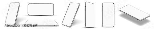Fototapeta Realistic smartphone collection at different angles (perspective, isometric, rotate, frontal and others) Mockup set mobile phone frame white blank display