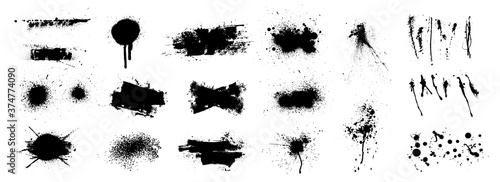 Obraz Nice splatter collection and large brush strokes. Abstract grunge collection for backdrop. High quality manually tracked. Different hand drawn spray design, grunge splash, ink blots. Splatter vector - fototapety do salonu