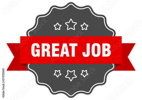great job label. great job isolated seal. sticker. sign Canvas Print