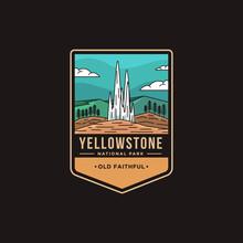 Lineart Emblem Patch Logo Illustration Of Old Faithful Yellowstone National Park