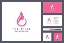 Beauty And Spa Logo Design. Cosmetics Corporate Identity. Beauty Salon Icon With Business Card Template.