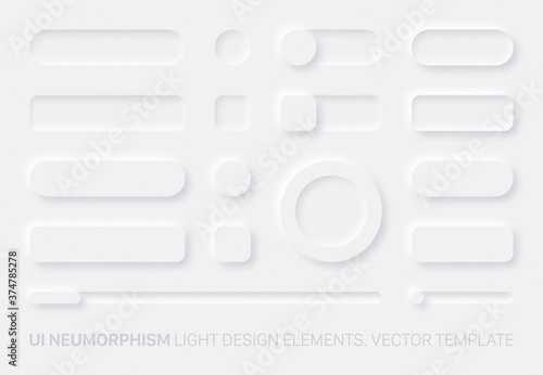 Fotografia, Obraz Neumorphic Vector UI Design Elements Set Light Version On White Background