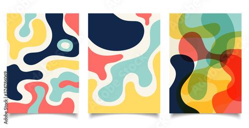 Obraz Set of brochure template organic shapes design background. - fototapety do salonu