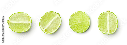 Fotografie, Obraz Collection of limes isolated on white background