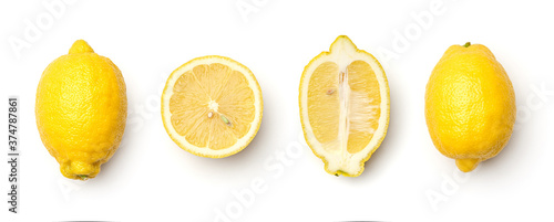 Obraz na plátně Collection of lemons isolated on white background