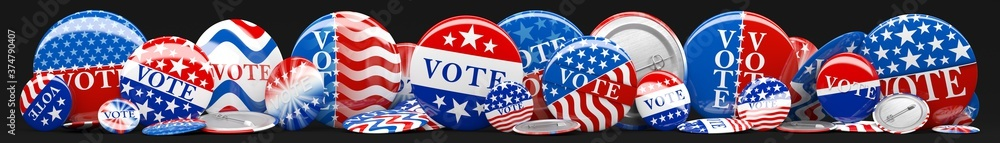 Fototapeta Panorama of various American red, white, and blue Vote pin. Collection of voting buttons for US presidential election or local elections. 3d render.
