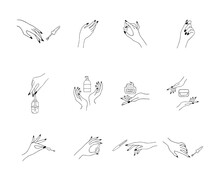 Female Manicured Hands. Lady Painting, Polishing Nails. Nail Polish And Nail File. Vector Illustration Of Elegant Female Hands In A Trendy Minimalist Style. Beauty Logo For Nail Studio Or Spa Salon.