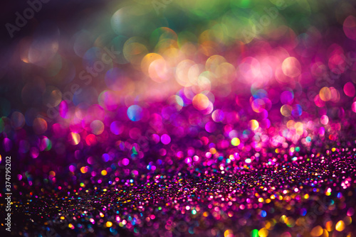 Fotomural bokeh effect glitter colorful blurred abstract background for birthday, annivers