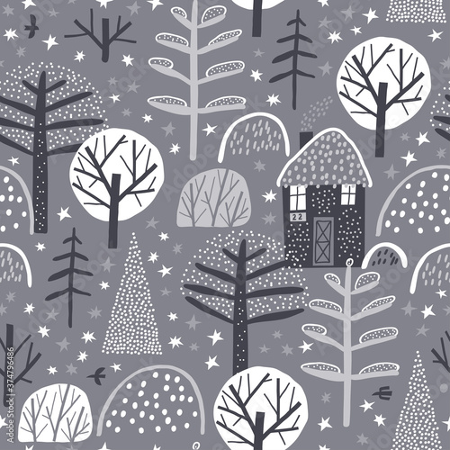 Tapety do Garderoby  cute-winter-forest-childish-seamless-pattern-creative-childish-texture-for-fabric-wrapping-textile-wallpaper-apparel-grey-background-lonely-house-in-the-woods