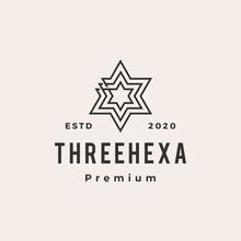 Three Hexagram Hipster Vintage...