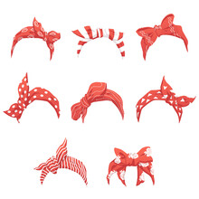 Set Of Red Headband Or Bandana For Women Realistic Vector Illustration Isolated.