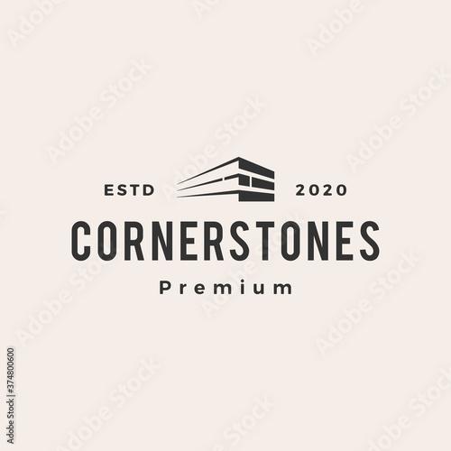 corner stone hipster vintage logo vector icon illustration Fototapeta