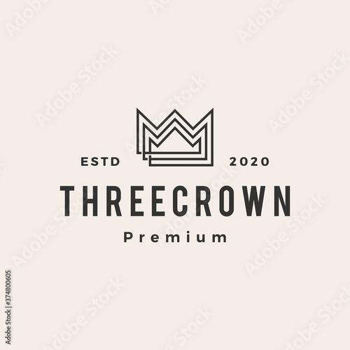 Photo three king crown hipster vintage logo vector icon illustration