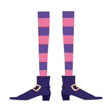 Witch Legs In Stockings And Boots Icon, Flat Vector Illustration Isolated.