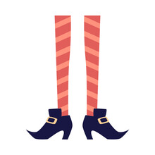 Halloween Witch Female Legs In Boots, Flat Vector Illustration Isolated.