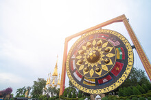 Big Gong Thai Called For People Visit And Respect Praying Buddha Statue At Wat Tham Khuha Sawan Temple In Khong Chiam District ,UBON RATCHATHANI,THAILAND