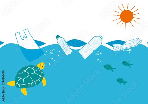 Obraz na plátně プラスチックによる海洋汚染のイラスト