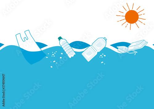 Fototapeta 海に浮かぶプラスチックごみ イラスト