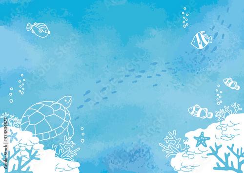 海底の魚たち 背景イラスト Canvas