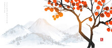 Persimmon Tree With Big Orange Fruits And Far Blue Mountains. Translation Of Hieroglyph - Life Energy. Vector Illustration In Japanese Style