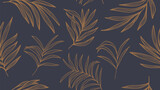 Floral line art. Vector seamless background pattern. Foliage hand drawn design for art deco, wallpaper, print, fabric and website. - 374805871