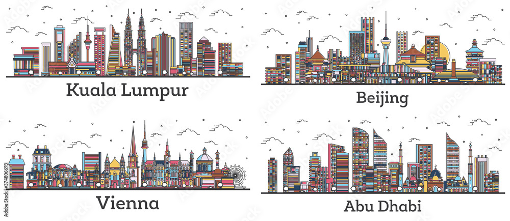Fototapeta Outline Kuala Lumpur Malaysia, Abu Dhabi UAE, Beijing China and Vienna Austria City Skylines with Color Buildings Isolated on White.