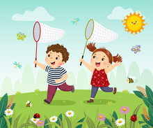 Vector Illustration Cartoon Of Happy Kids Catching Bugs In The Field.