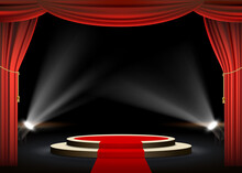 Round Podium With Red Carpet A...