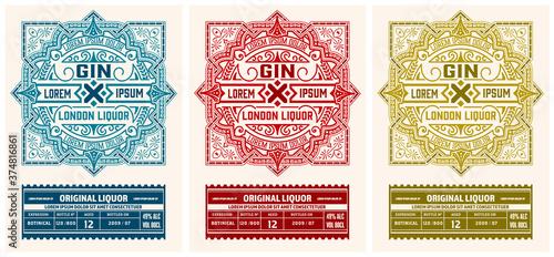 Liquor label with floral ornaments